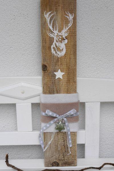 weihnachtsdeko aus holz mit hirsch von lille butik auf schilderen op hout. Black Bedroom Furniture Sets. Home Design Ideas