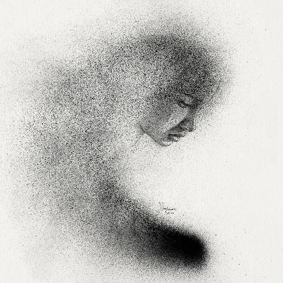 Black cloud portraits stippling drawings and spray paint to see more art and information about slava triptih click the image