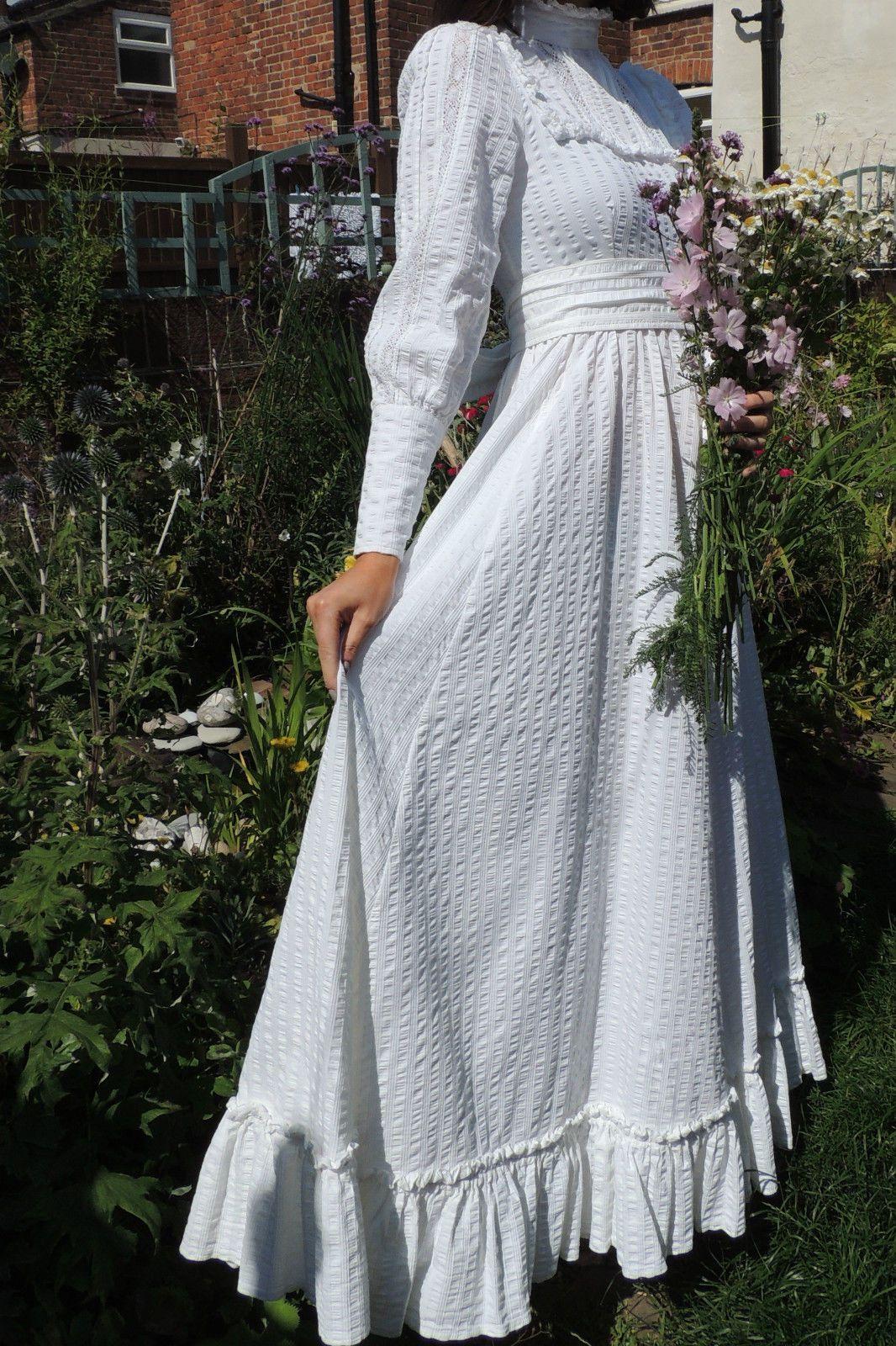 Vintage Laura Ashley Romantic Victorian Edwardian 1970s Wedding Dress Sz 8 10 Laura Ashley Dress Fancy Dresses Historical Dresses