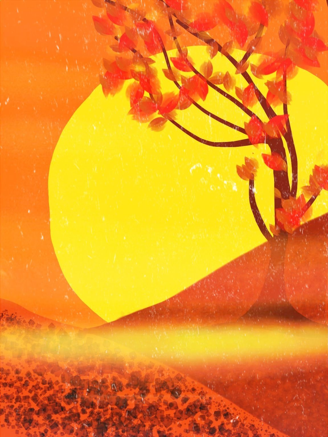 Red Yellow Sun Sunset Warm Orange Tree Drawing
