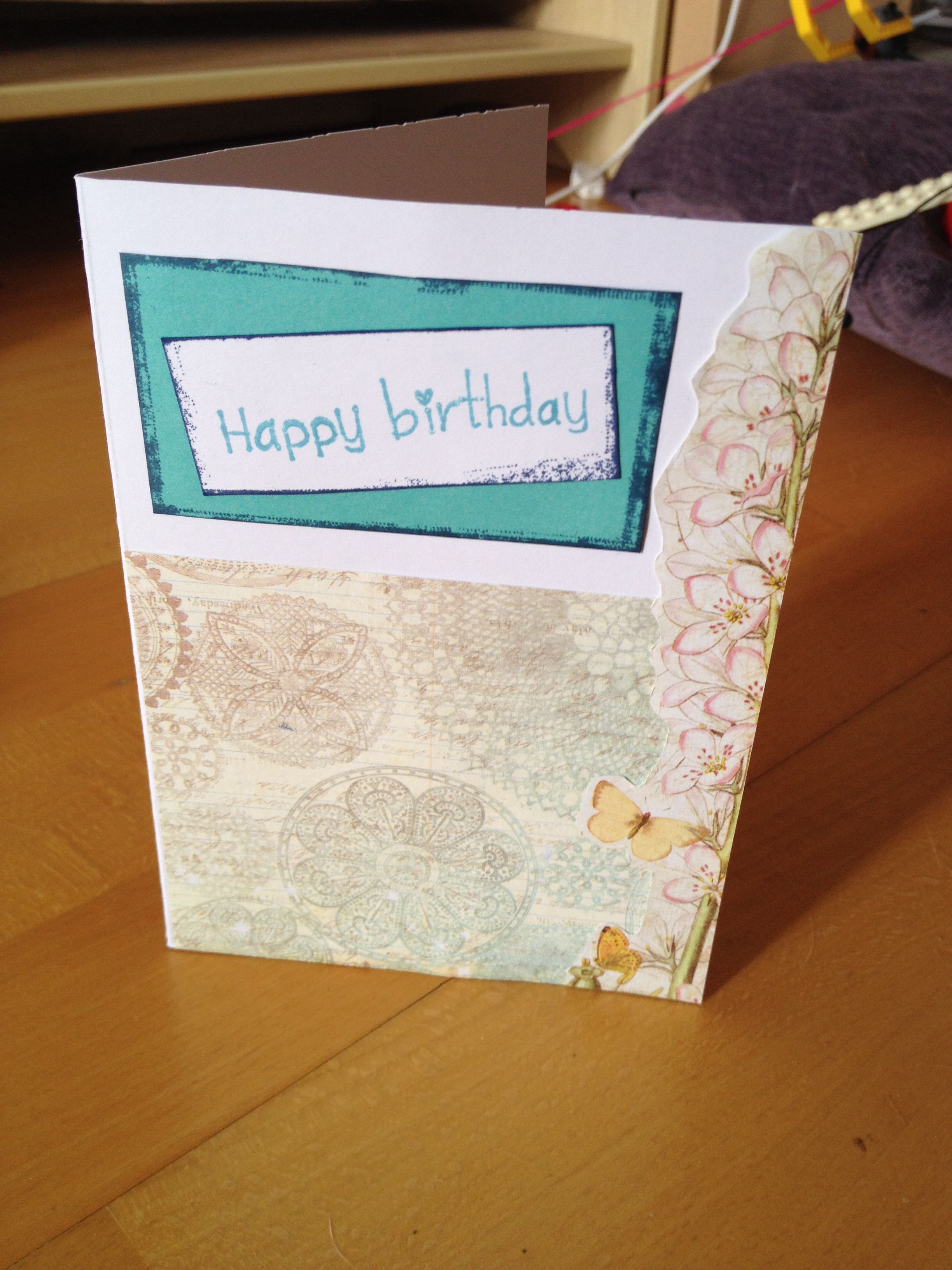 Birthday card craft. Blue birthday card. Inked edges. Stamps. Simple birthday card.