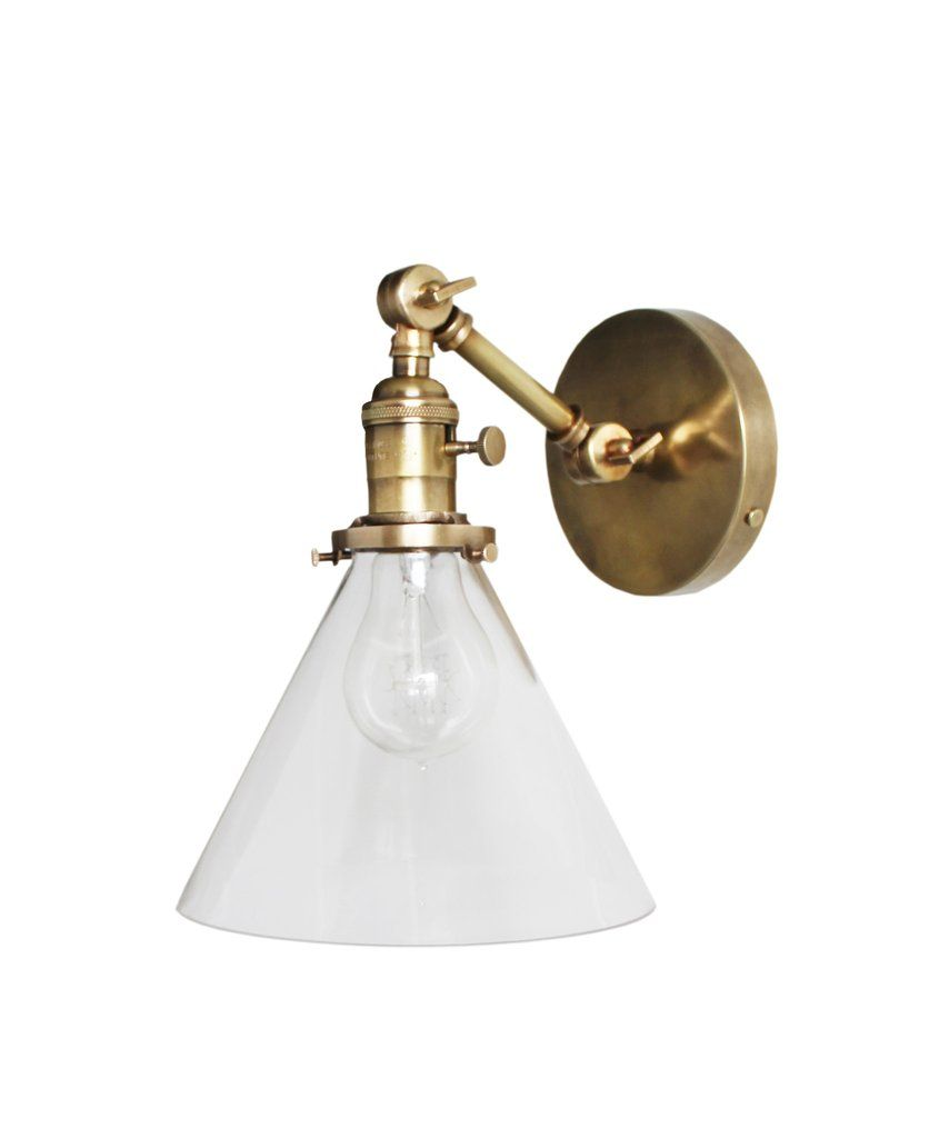 Antique Wall Sconce Glass Shades : Jefferson Single Arm Wall Sconce with Tapered Clear Glass Shade, Antique Brass fixtures ...
