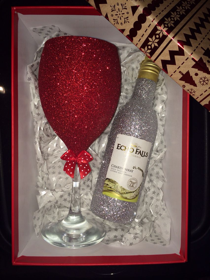 Christmas Glitter Wine Glass With Mini Wine In Gift Box Purchase