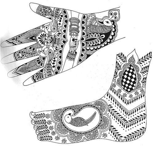 Motifs de henna sur les mains et les pieds id e h nn pinterest mehndi designs - Dessin de henne pour les mains ...