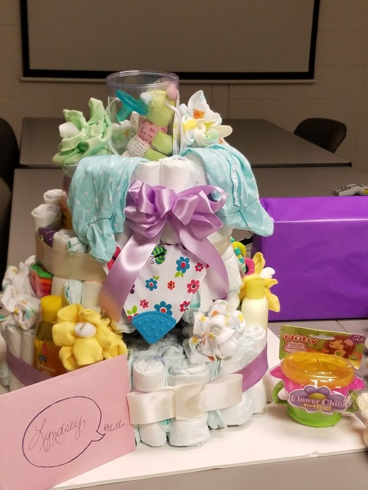 I made this diaper cake with items coworkers bought for Lyndsey's baby shower April 2017.