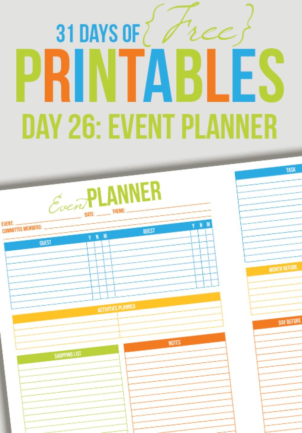 Event Planner Printable (Day 26 Event planning