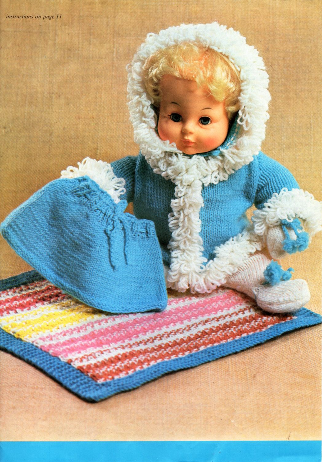 baby dolls clothes knit pattern PDF loopy jacket skirt leggings ...
