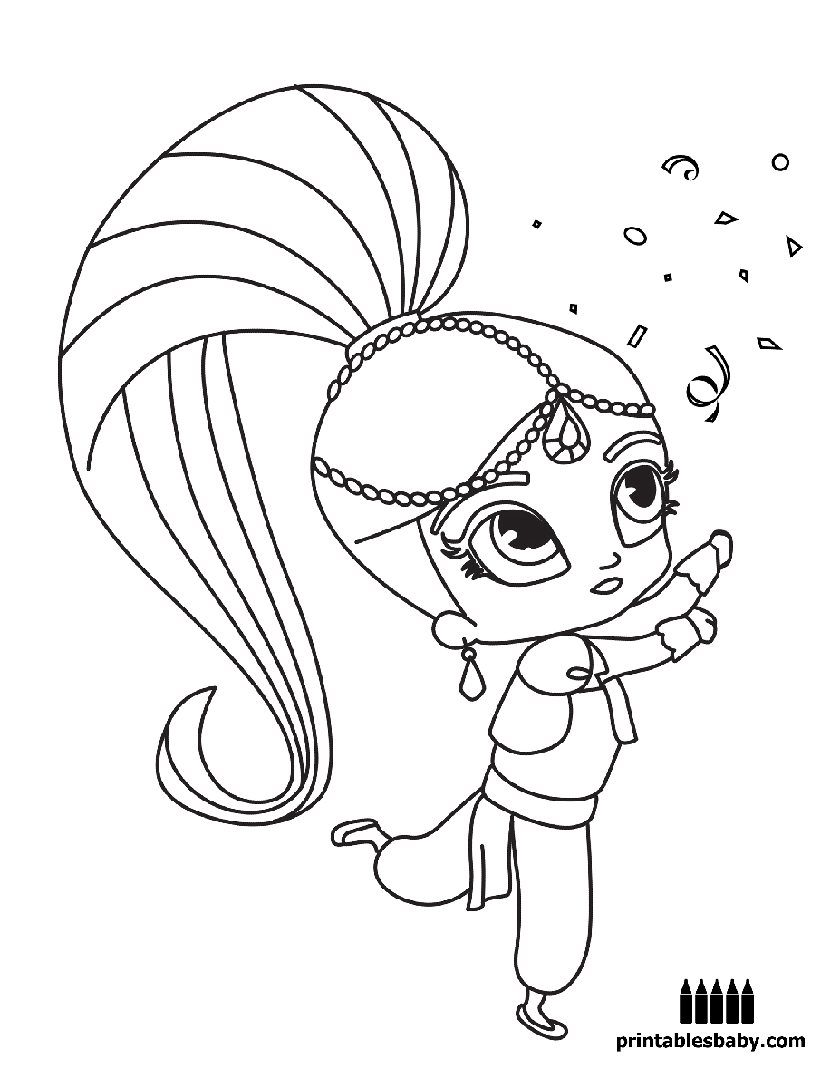 Free cartoon coloring pictures - Shimmer And Shine Printables Baby Free Cartoon Coloring Pages