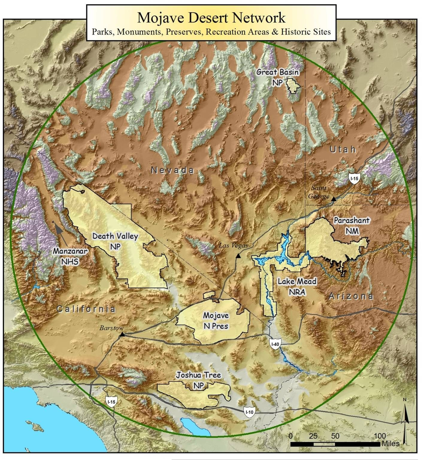 Mojave Desert Network Map of Area and Associated Parks