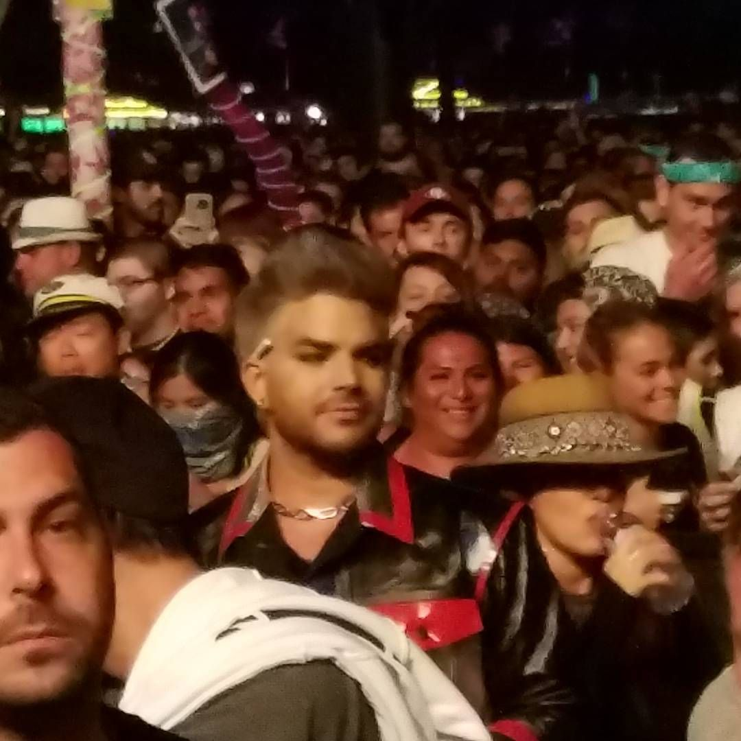 Adam lambert watching gaga at coachella oh oh adam