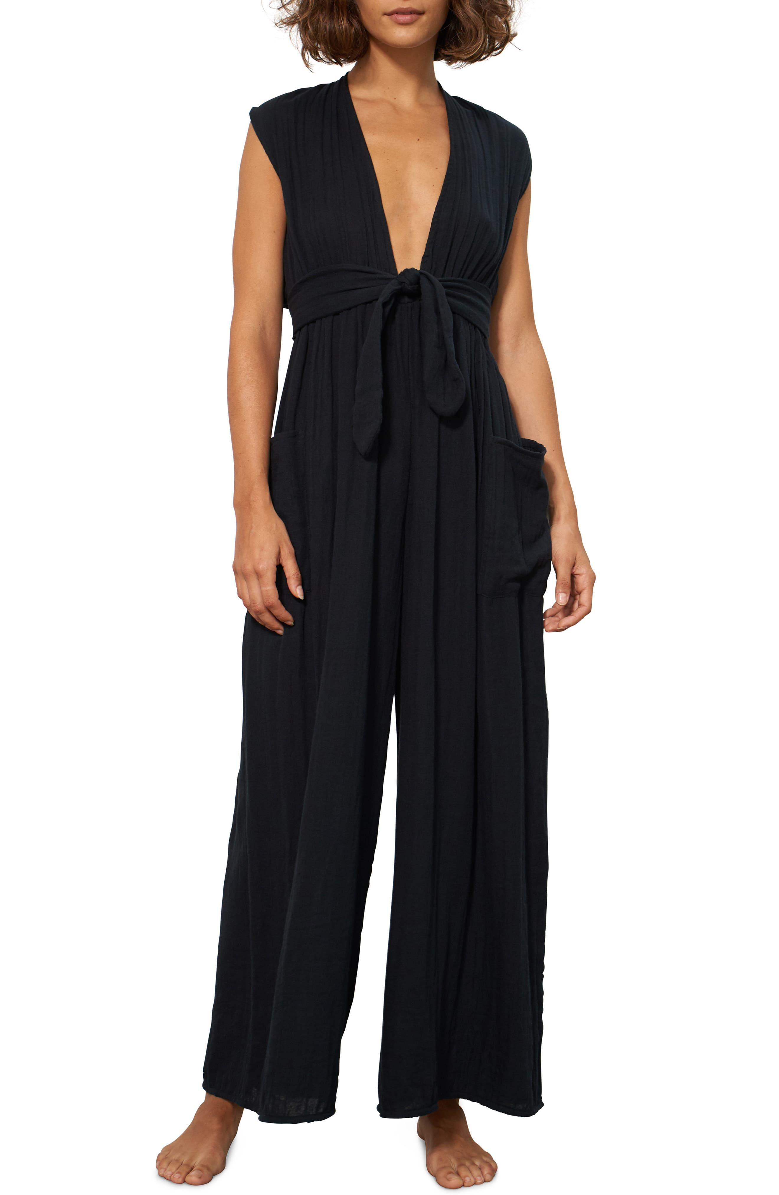 0267954341 Women's Mara Hoffman Whitney Organic Cotton Cover-Up Jumpsuit, Size X-Large  - Black