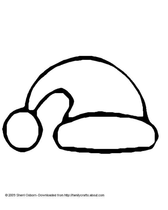 santa hat coloring page and template - Santa Hat Coloring Pages