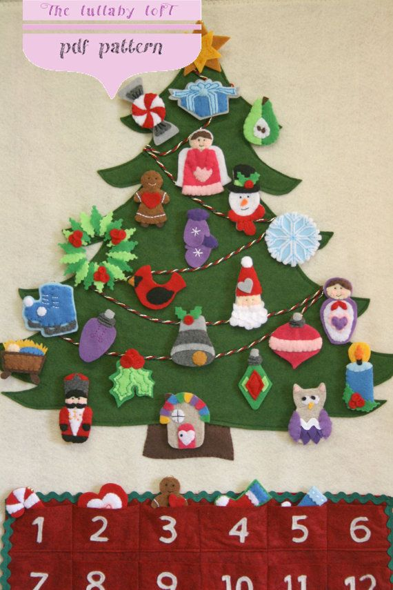 Emmas advent calendar felt tree felting and decorating christmas tree advent calendar pattern 29 ornaments pattern instant digital download merry christmas solutioingenieria Image collections