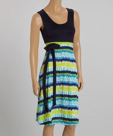 Look what I found on #zulily! Navy & Blue Abstract Stripe Tie-Waist Sleeveless Dress #zulilyfinds