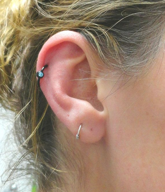 Dream Catcher Feather Chain Blue White Bead Double Piercing Single Ear Cartilage Stud for Teen 316L Steel