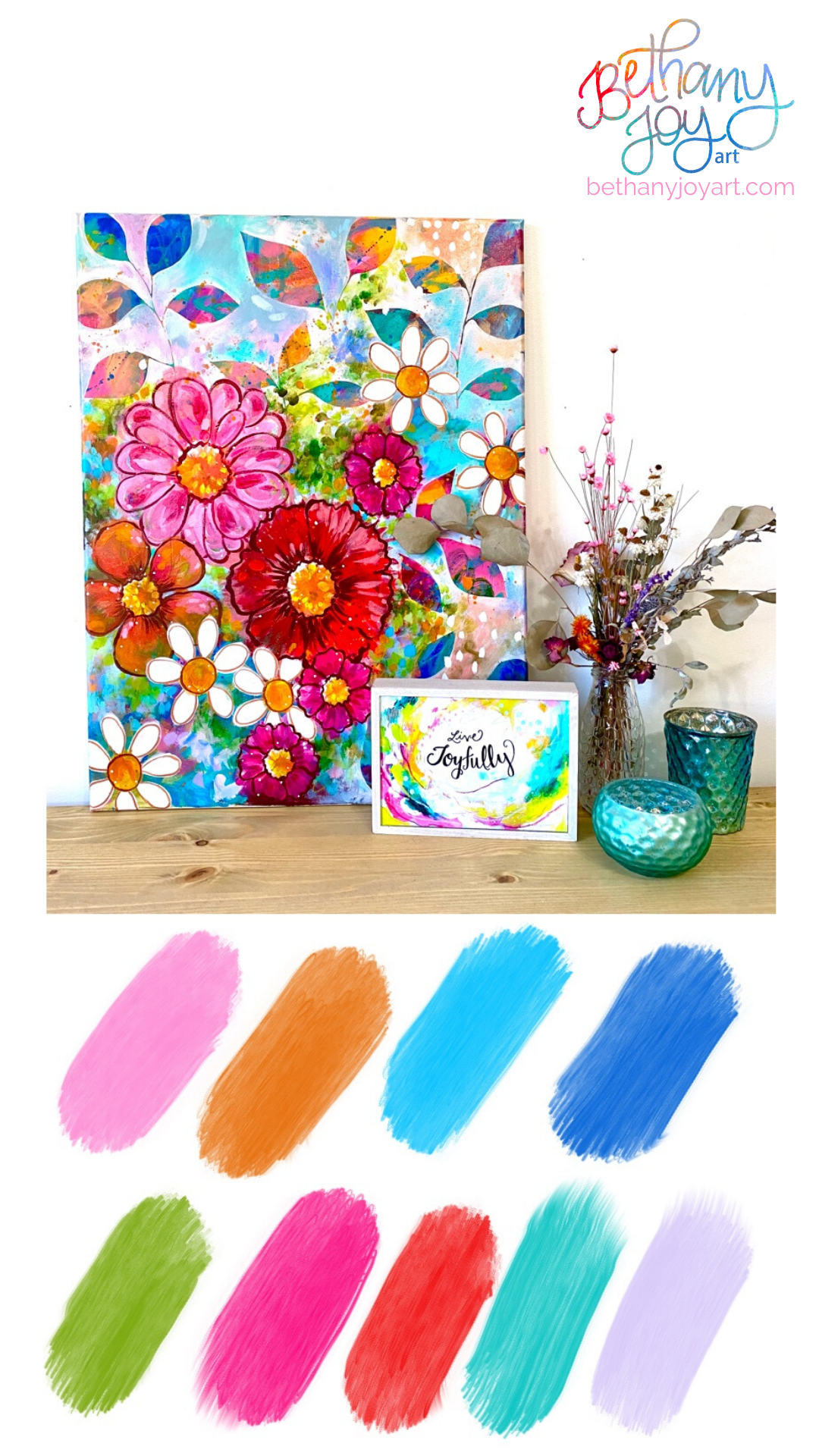 Vibrant color scheme, colorful home decor, bright color swatches by Bethany Joy Art #colorswatches #brightcolors #colorfulhomedecor #floralart