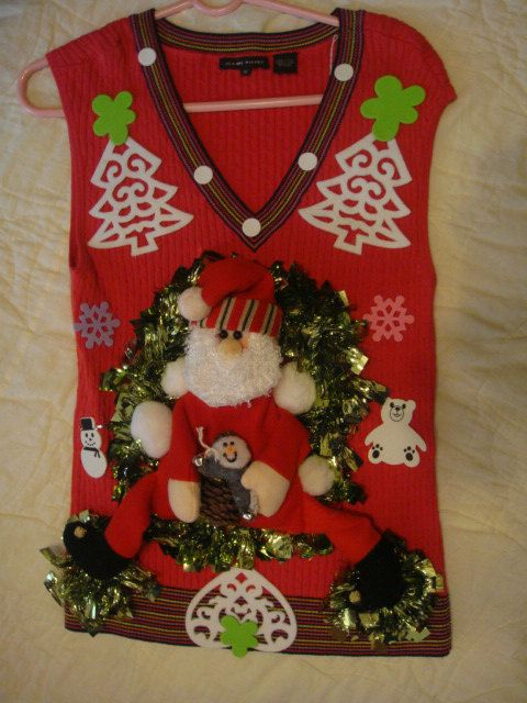 deb woman s ugly christmas sweater medium red pink santa gaudy tacky winner by keriblue4 on etsy