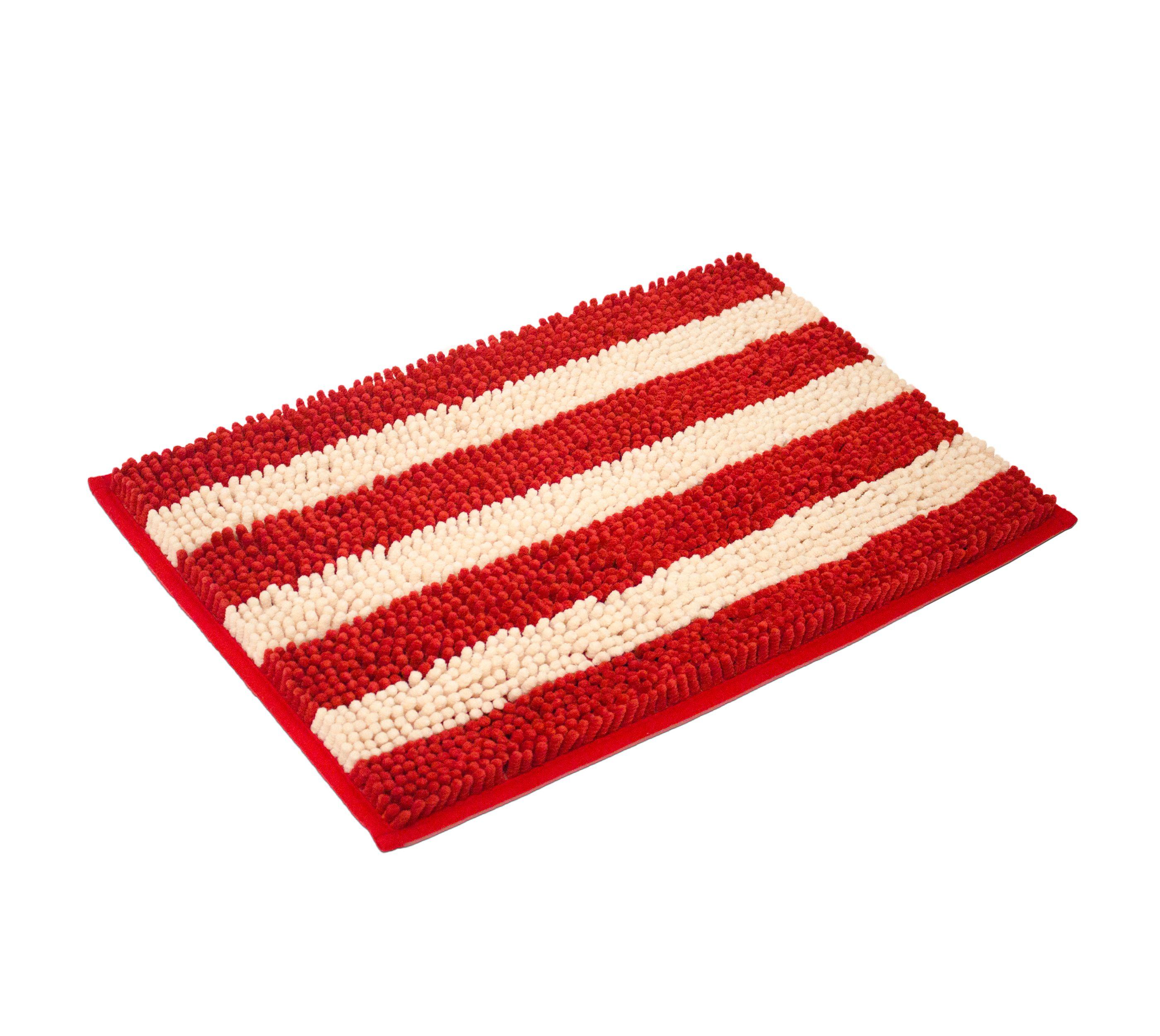 Cabana Soft Plush Stripe Chenille Yarn Bath Mat Bath Rug Latex Spray Backing