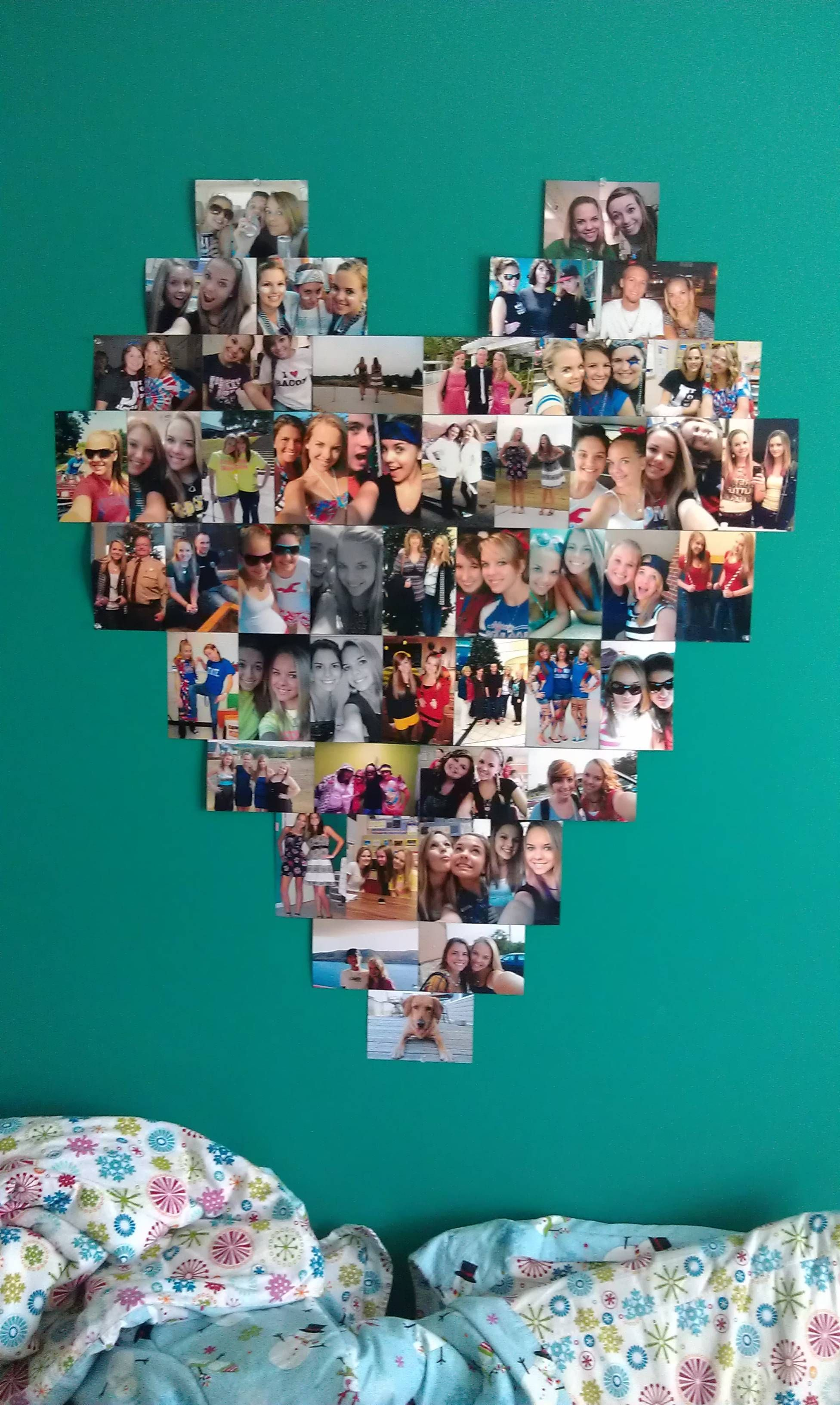 I made a heart shaped photo collage for my wall