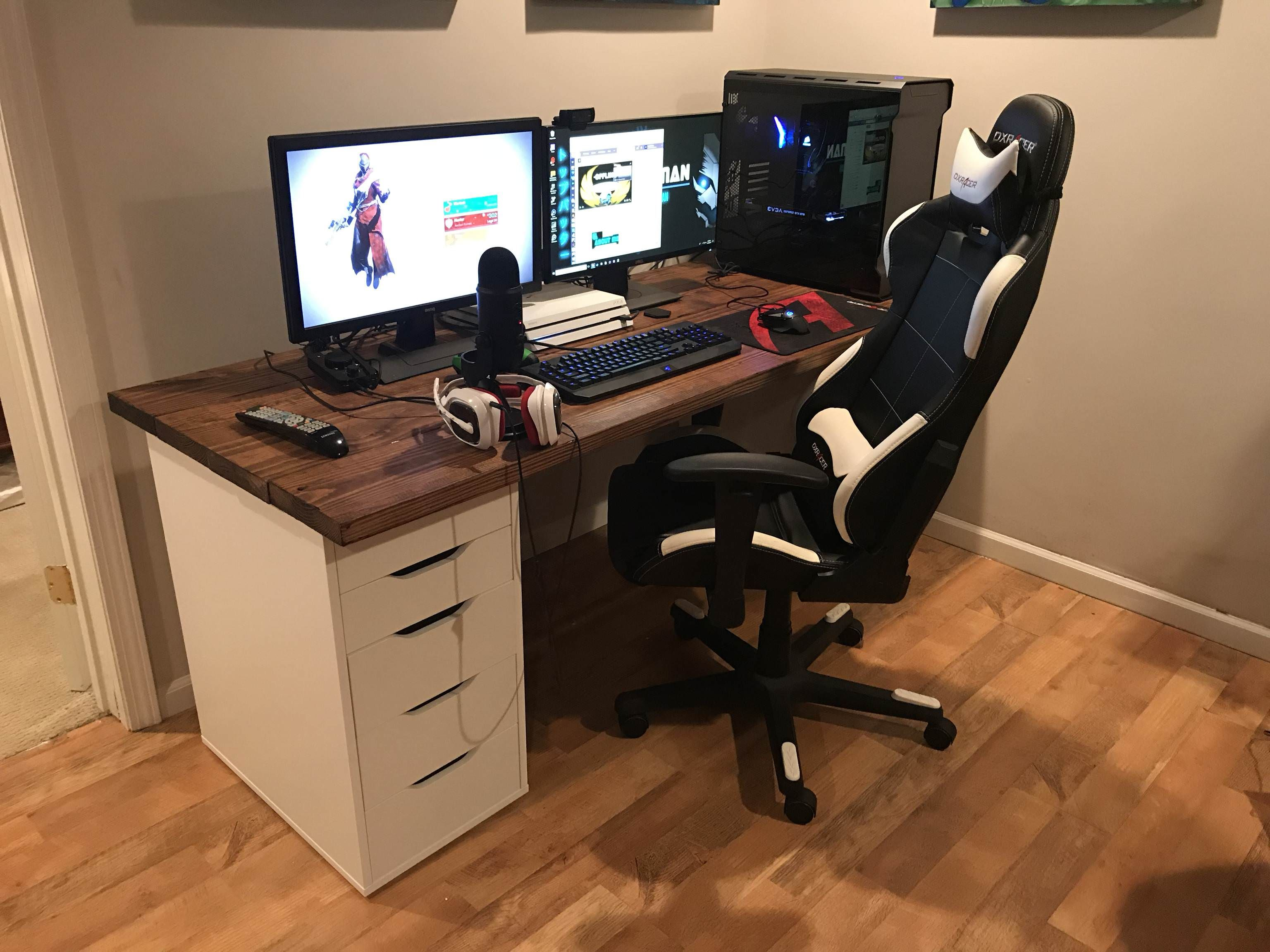 Moved From My Old Setup In The Living Room To A New Setup In My Gaming Room Gaming Room Setup Game Room Desk In Living Room