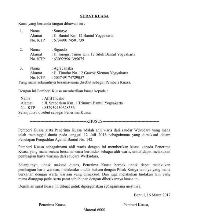 Contoh Surat Kuasa Ahli Waris Surat Kuasa Surat Hukum Pidana
