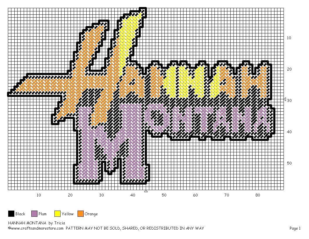 Hannah montana logo plastic canvas canvas fun