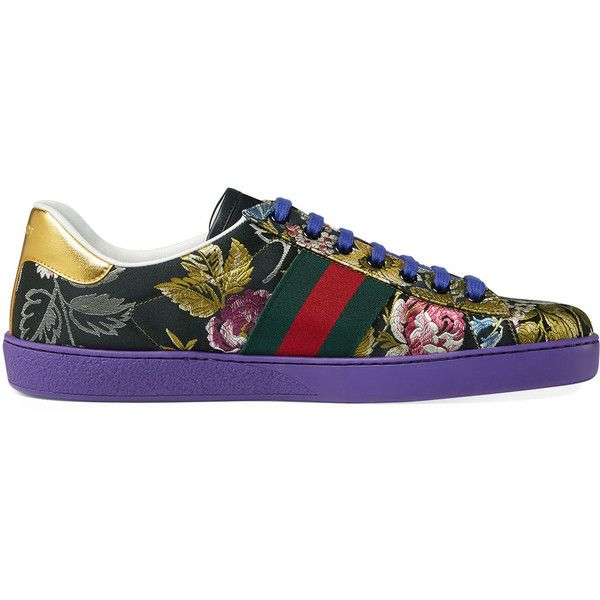 df14c17cbebc Gucci New Ace Floral Jacquard Low-Top Sneaker ( 620) ❤ liked on Polyvore