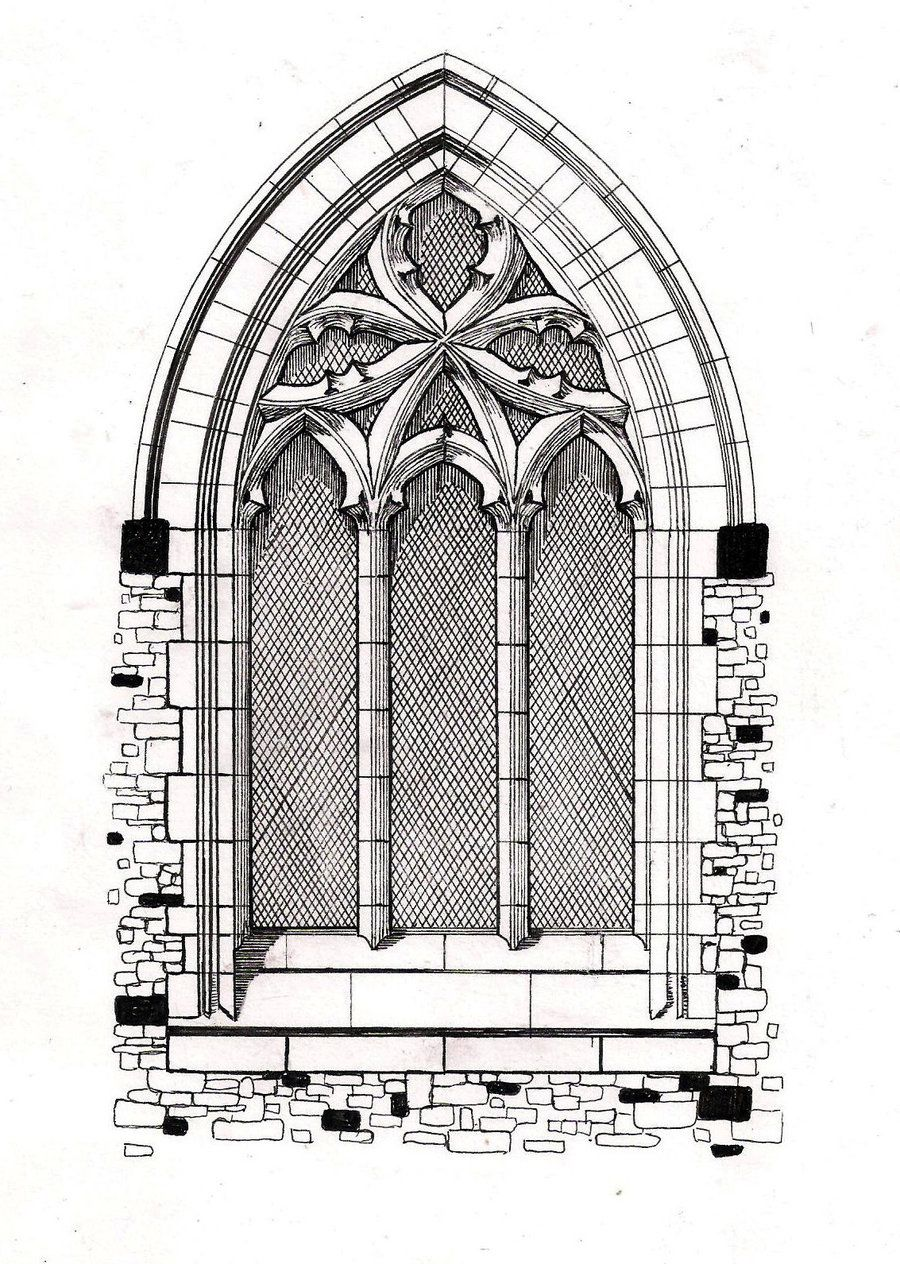 Gothic Windows Line Drawing Window By Hellluke