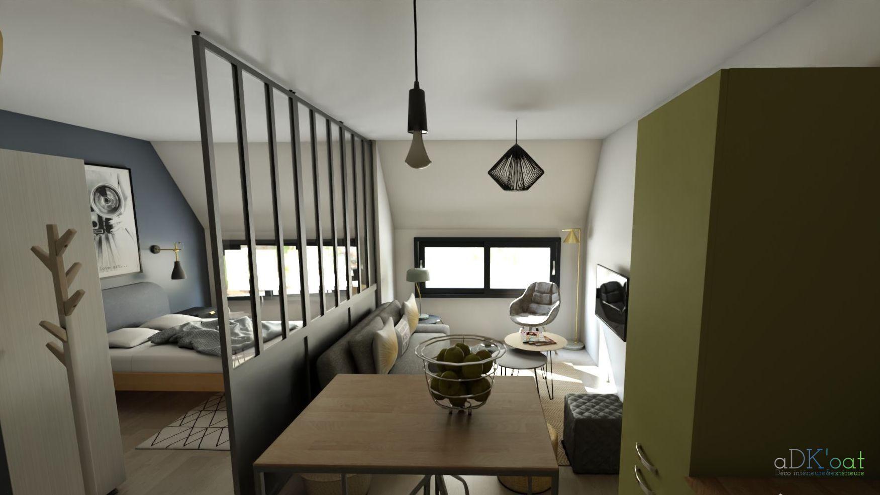 Amenagement D Un Studio 30m2 Sous Les Toits Challenge Creer Un Coin Nuit Sans Obstruer La Luminosite Faible De Cett Appartement Maison Decoration Interieure