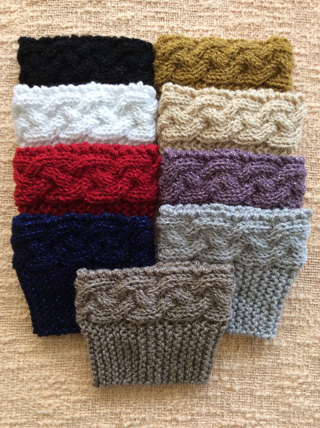 Metallic Knitted Boot Cuffs by SparkleYarn on Etsy | Knitted ...