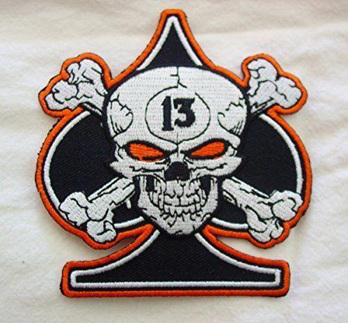 Skull bones spade 13 lucky biker mc biker patch