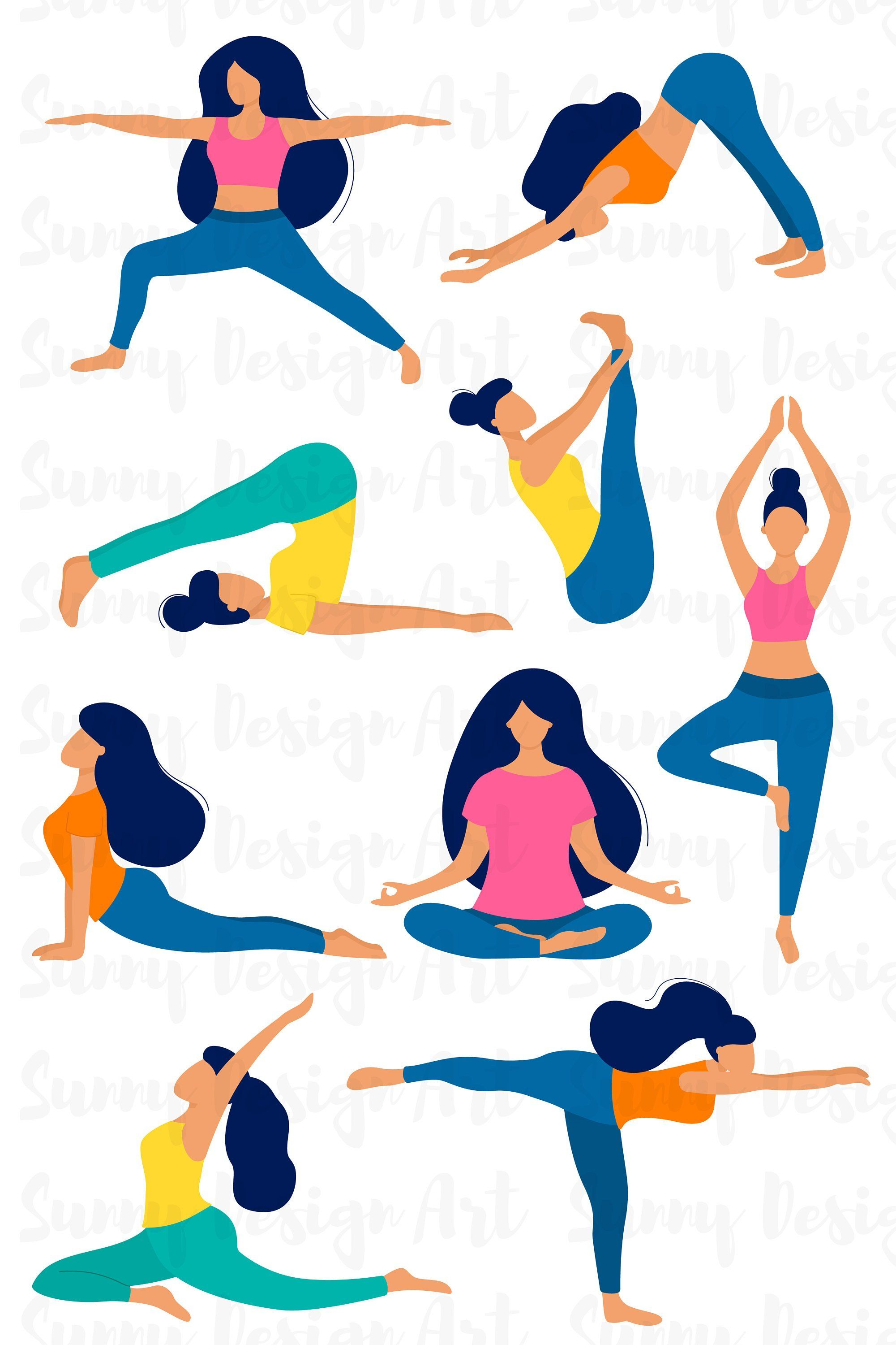 Vector Yoga Silhouette Clipart Planner Stickers Cute Yoga Poses Instant Download Commercial Use Gym Graphics Fitness Workout Set People Illustration Yoga Png Silhouette Illustration