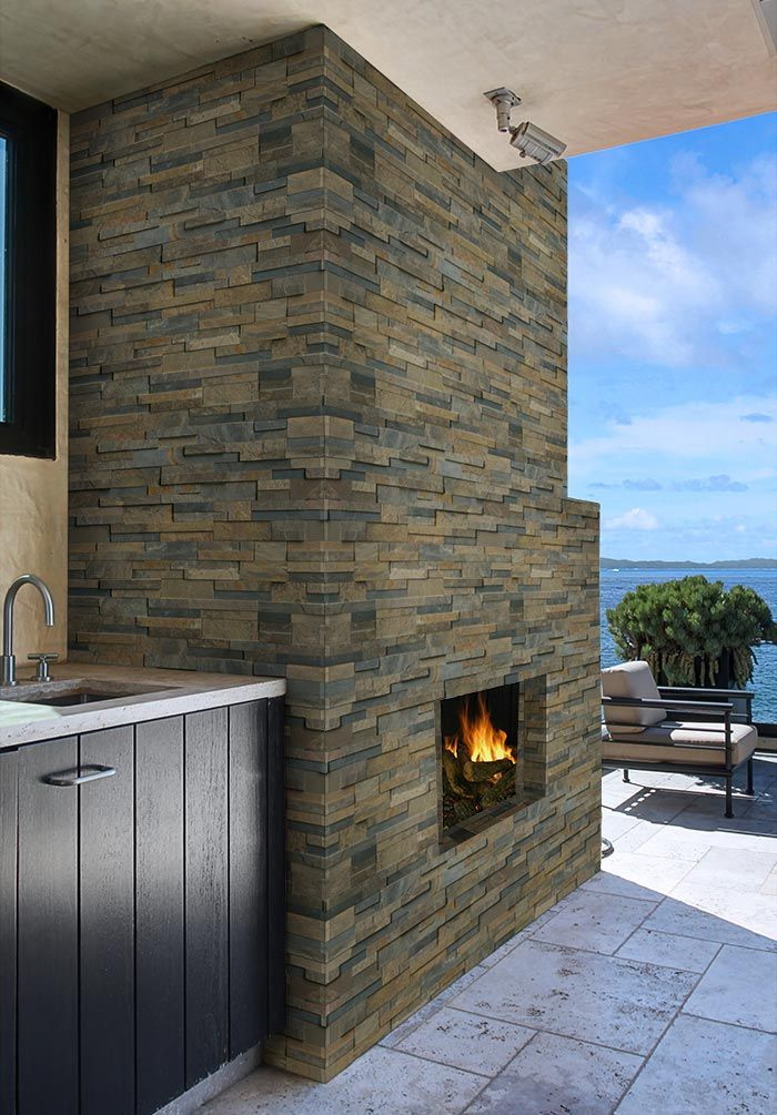 Rustic Gold Stacked Stone Stacked Stone Fireplaces