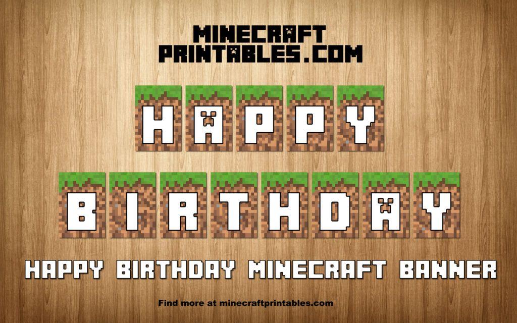 Birthday Banner Printable Minecraft Happy Birthday