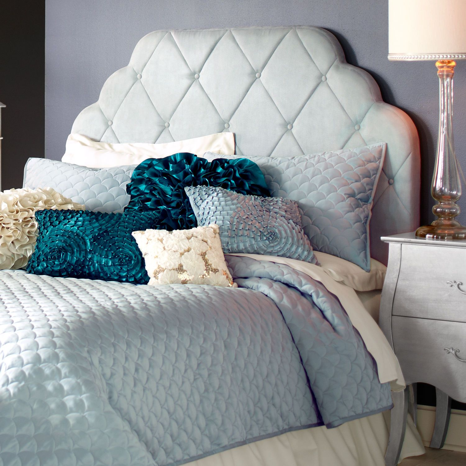 Hayworth Upholstered Headboards Light Blue Cream And Silver - Light blue and silver bedroom