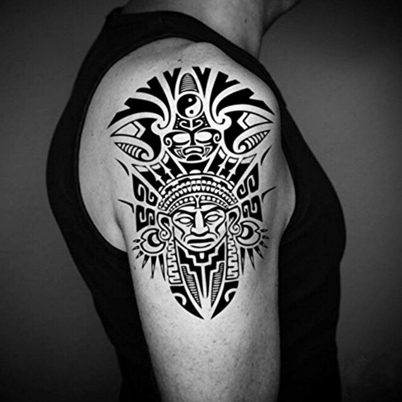 Aztec Half Sleeve Temporary Tattoo Fake Tattoo Sticker