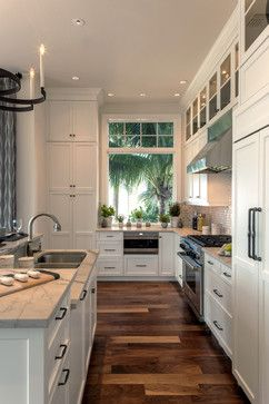 wood floors, wall tiles, white cabinets Windover 108 Model at Barefoot Beach - traditional - kitchen - other metro - Collins & DuPont Interior Design
