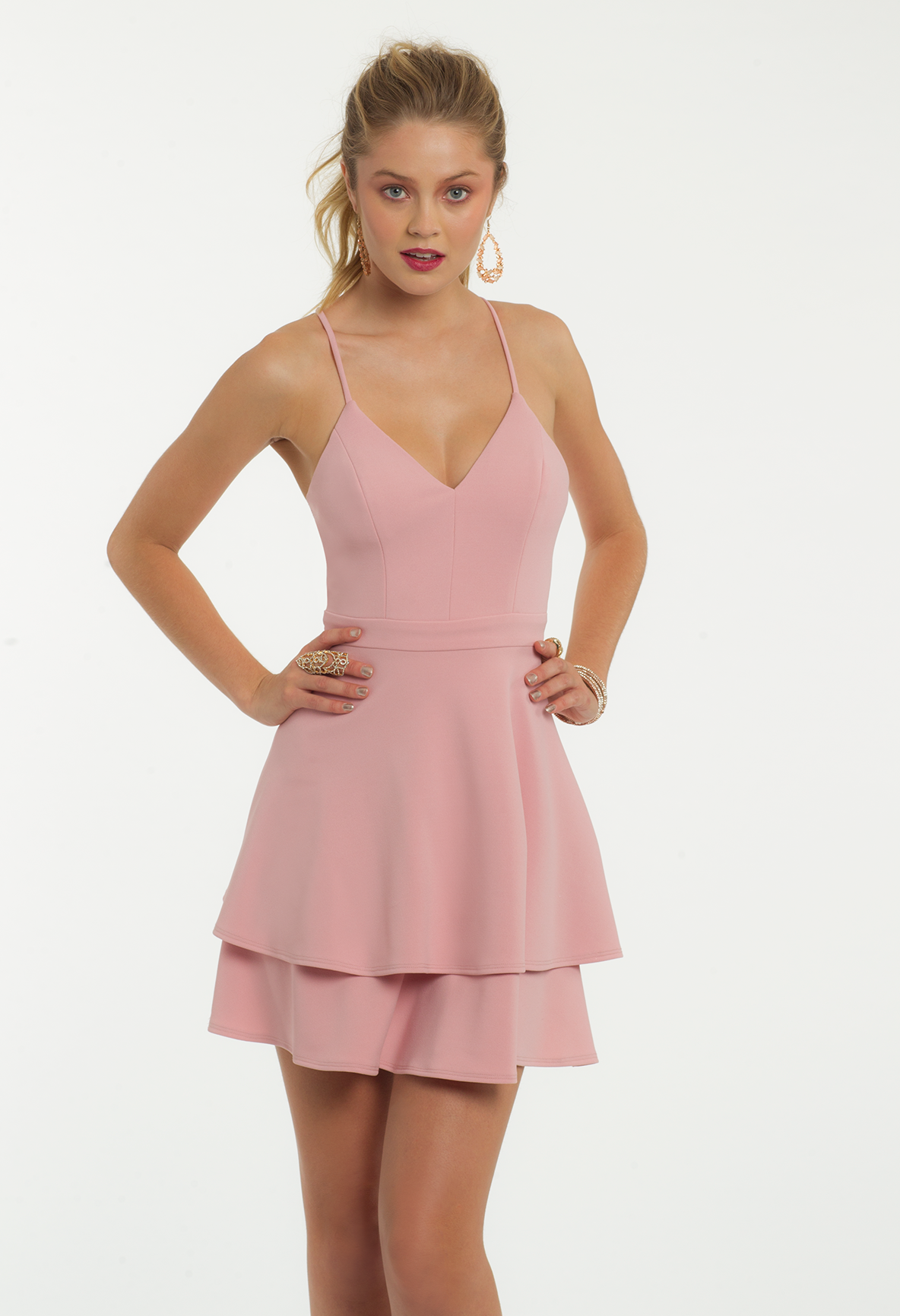 48ff5321fb7 Slip on this short cocktail dress and be the most sophisticated girl in the  room! With its v-neckline