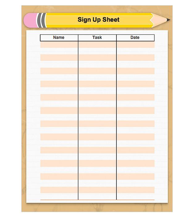 A printable signup sheet with room for dates and names Free to – Sign Up Sheet Printable