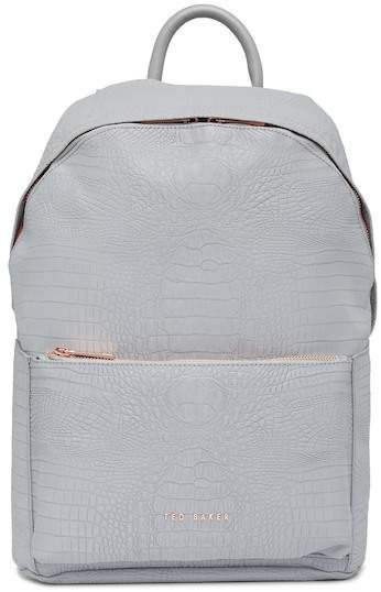 81cb8dbe366a Rahri Reflective Croc Embossed Faux Leather Backpack