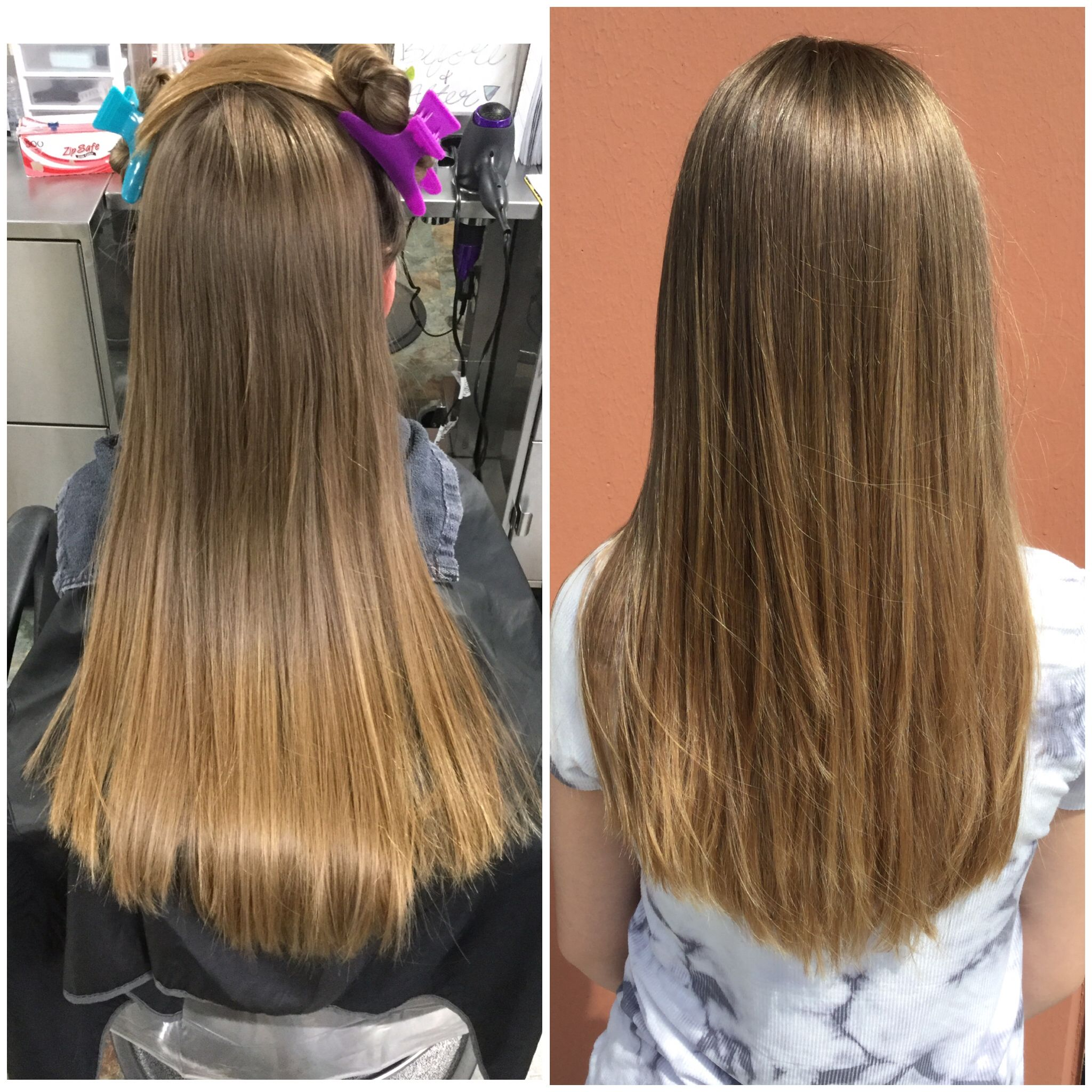 Trimmed up and placed layers into this lovely girls hair using a