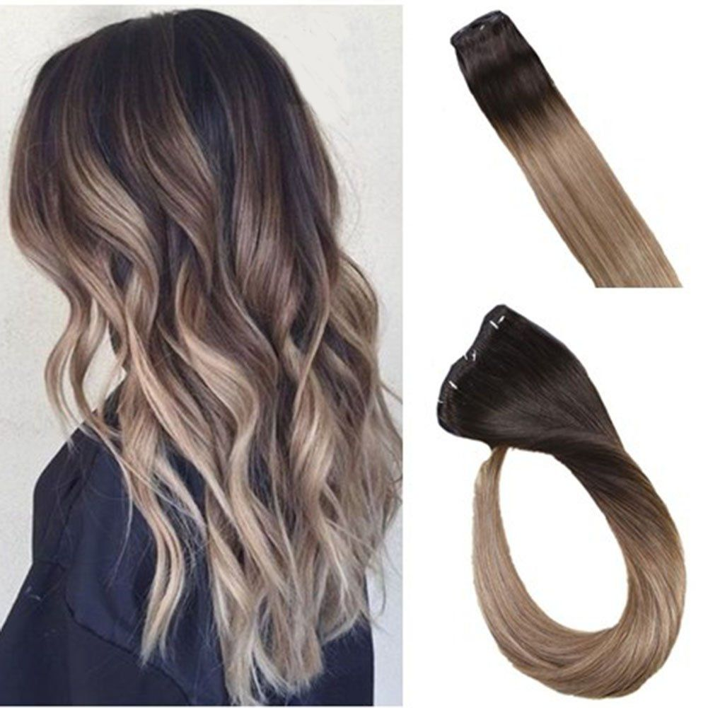 Laavoo 14 120g Clip In Hair Extensions Balayage Ombre Color Dark