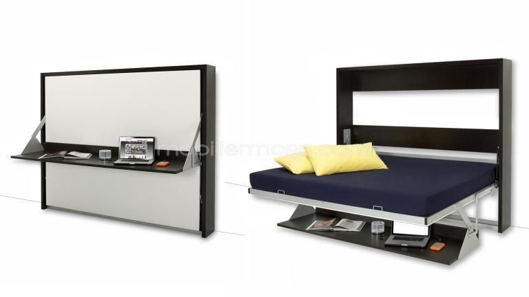 lit double escamotable 140x200 cm avec bureau rabattable donny pinterest murphy bed. Black Bedroom Furniture Sets. Home Design Ideas