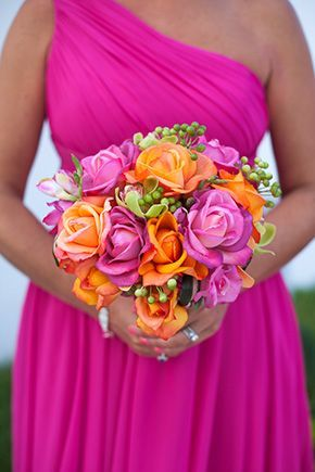 Bright Mexican Wedding Bouquet Flowers Orange And Pink Wedding