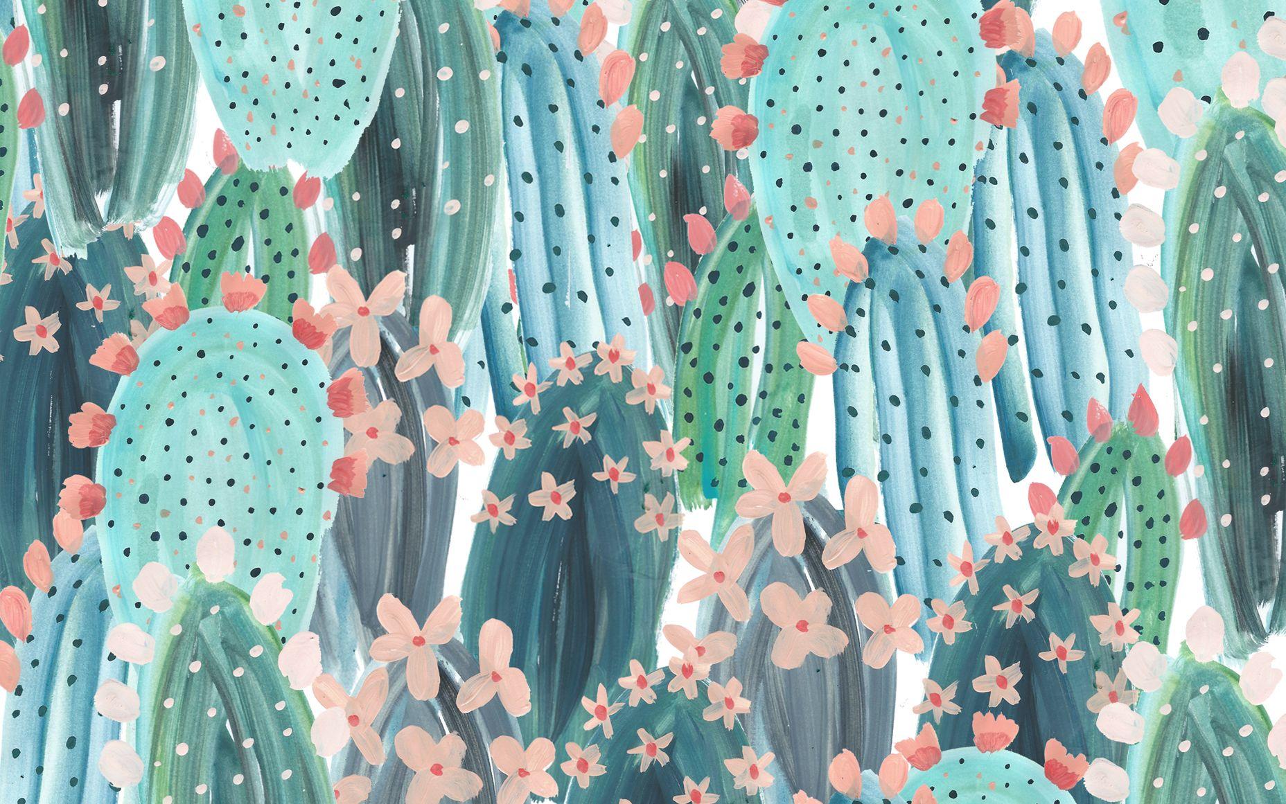 Cacti Pattern Desktop Wallpaper Designlovefest Tropical