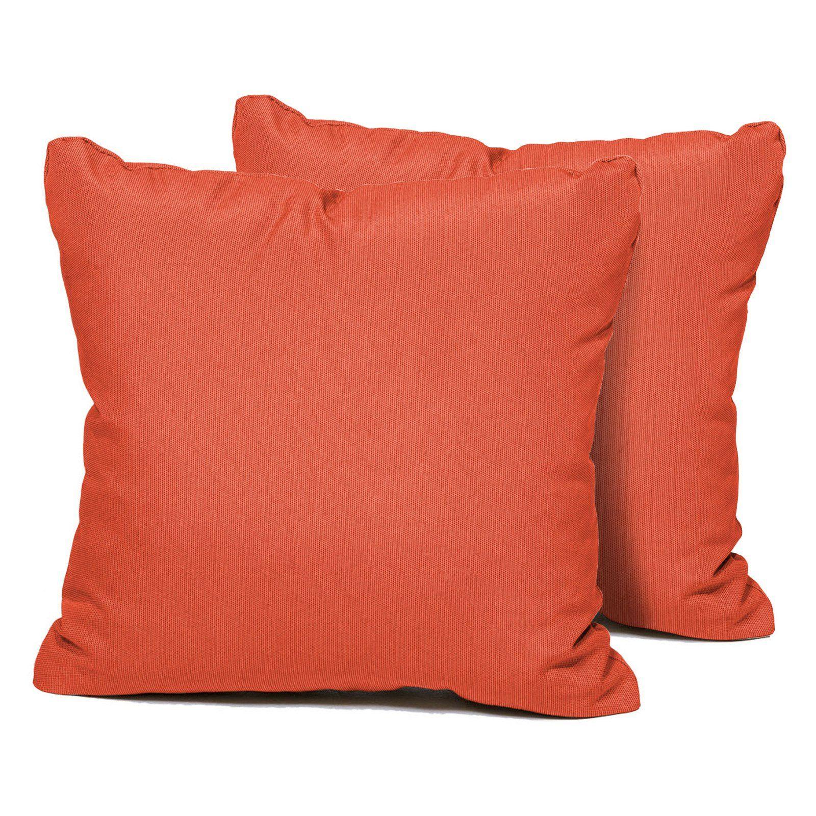 Tk Classics Decorative Outdoor Throw Pillows Set Of 2 Tangerine