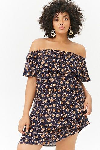 918feb5f45fc Plus Size Floral Off-the-Shoulder Dress   Products   Dresses, Plus ...