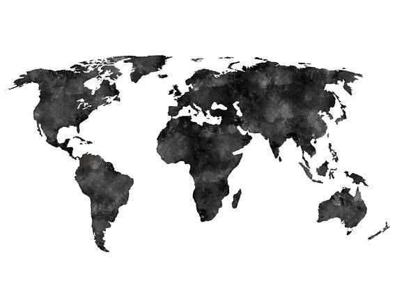 Black distressedwatercolored world map instant download rustic black distressedwatercolored world map instant download rustic minimalist scandinavian black and white wanderlust travel print gumiabroncs Image collections