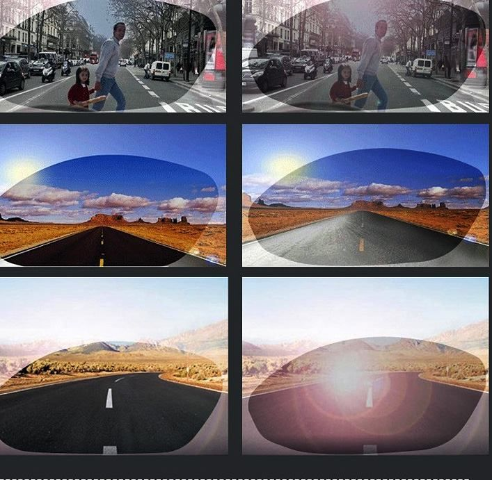 This is contrast effect of normal lenses and polarized ,the latter can reduce amount of glare reflected from surfaces such as water, metal or highway road finishes.