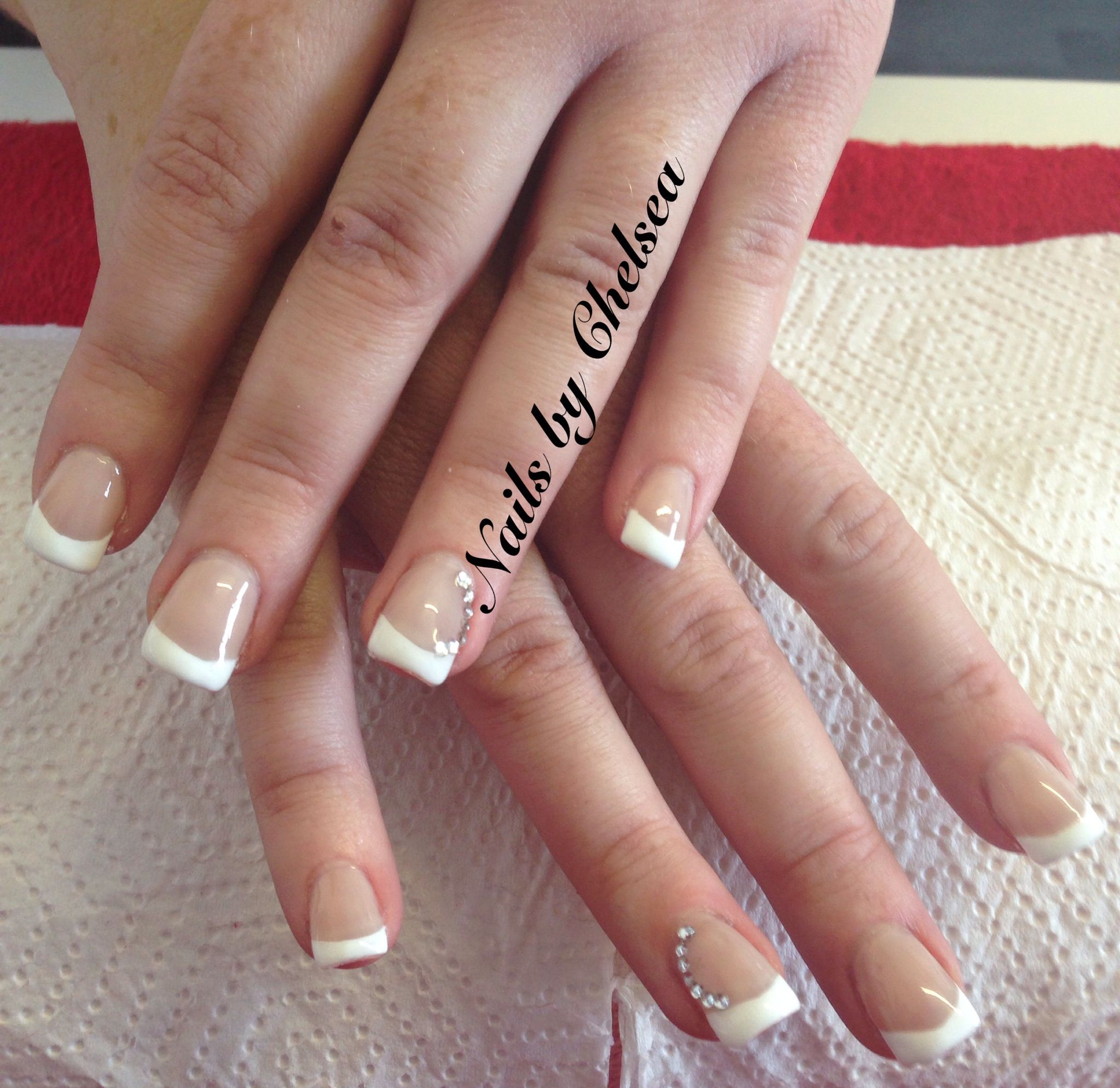 Classic White Tip With Diamont 233 Detail Nails By Chelsea At Hair Lounge Nail Art Nails Manicure